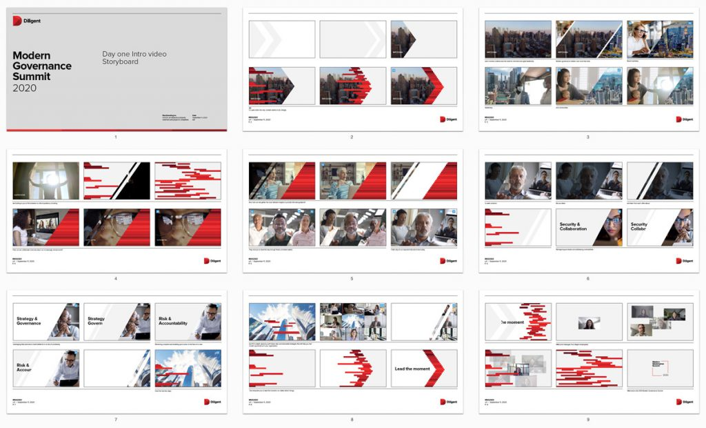 Images showing the script and storyboards developed for the event's kickoff video.