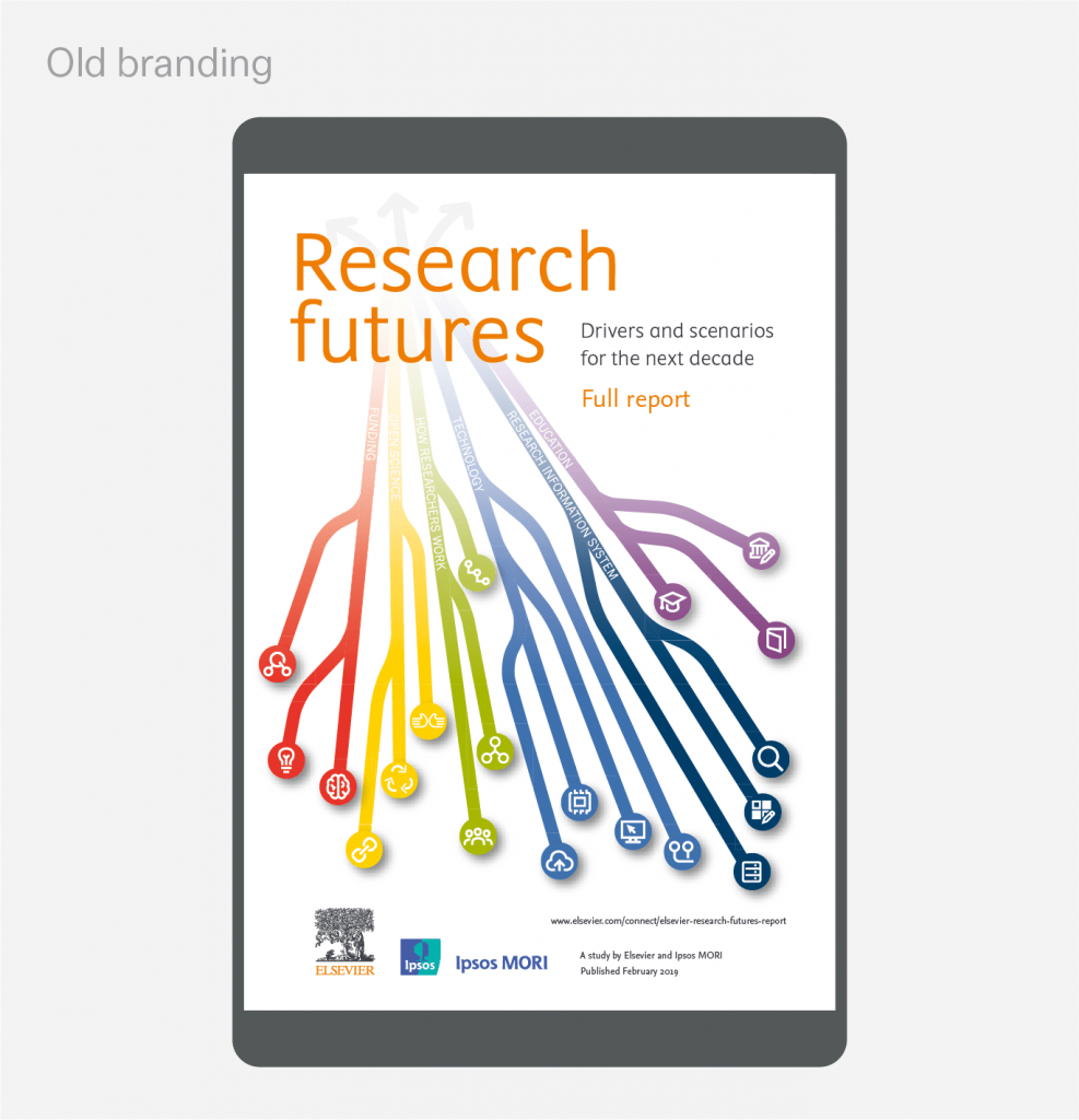 Set of images comparing Elsevier's old and refreshed branding systems.